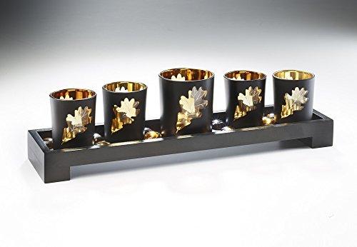 Deko-Schale aus Holz mit fünf Teelichthaltern