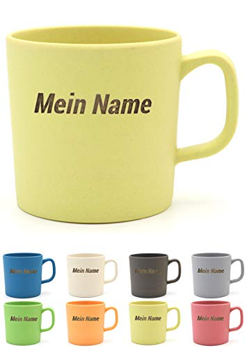 Magu Kaffeebecher mit Henkel mit Namen personalisierte Bambus Namens-Tasse - Individuelle Namensgravur 463 - naturgelb