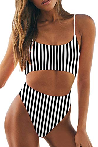 LEISUP Spaghetti Straps High Waisted Adjustable Lace Up Back One Piece Swimsuit for Women,Black Stripe M