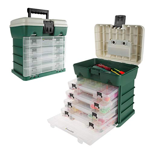 Wakeman 80-FSH5035 Storage and Tool Box-Durable Organizer Utility Box-4 Drawers, 19 Compartments Each for Camping Supplies and Fishing Tackle by Outdoors (Green)