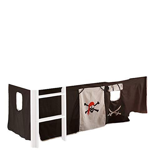 Vorhang Pirat Seeräuber 3-tlg 100% Baumwolle inkl Klettband Stoffvorhang Spielvorhang für Hochbett Bett Spielbett Stockbett Kinderbett Gardine