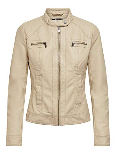 ONLY Damen Lederjacke Bandit Pu Biker Noos, Gr.38 (Herstellergröße: 38), beige (oxford tan)