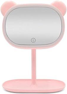 Beauty Mirror led Light Creative Makeup Mirror Portable Portable Makeup Beauty Mini Kitty Mirror Battery Capacity: 2000mAh Mirror Length 22 Width 14 Height 30cm (Color : Pink)