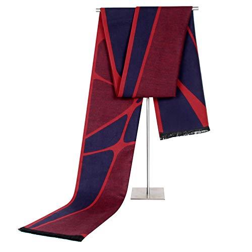 LEIJUNXU Sciarpa Imitazione Cashmere Maschile Affari Atipico Motivo Geometrico Cuciture Nappa Tempo Libero Bavaglino Sciarpa Calda (Colore : Navy Red)