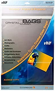 ClearBags 11 x 17 Crystal Clear Seal Top Bags with Resealable Adhesive on Body of Bag | Art Sleeve Protects Photos, Artwork, Crafts, Favors | Acid Free and Archival Safe | B1117PC (1 Pack of 100)