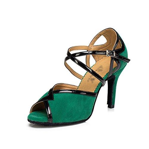 WYMNAME Womens Latin Tanzschuhe,High Heels [leise unten] Soziale Tanzschuhe Internationalen Standard Gesellschaftstanz Schuhe-grün Fußlänge=24.8CM(9.8Inch)