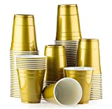 Red Celebration Gold Cups 100 Pack Golden bechern - Beer Pong American Party tassen Original 500 ml - mehrere Farben - Student & Geburtstag | 16oz Große Plastik Becher Trink Glas Einweg Geschirr