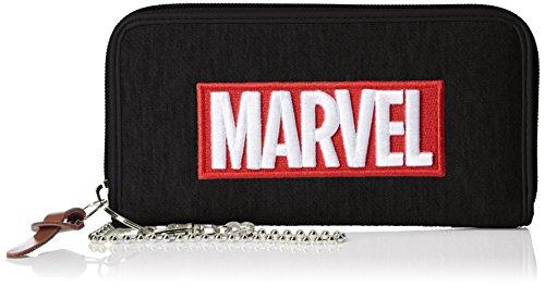 [マーベル] ウォレット 財布 スウェット MARVEL マーベル 刺繍ロゴ レディス メンズ MV-WLT01 ブラック
