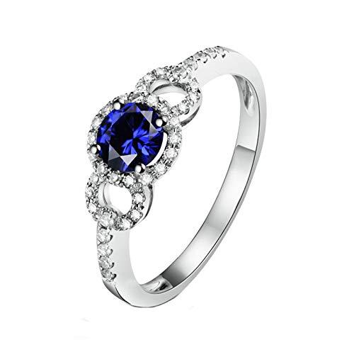 Daesar Anillo Compromiso Mujer Oro Blanco 18K,Redondo Hueco Zafiro Azul 0.6ct Diamante 0.17ct,Plata Azul Talla 15