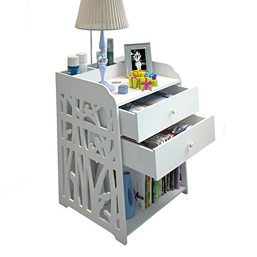 YANFEI Table pliante, Tables de chevet sculptées blanches, étagère de décoration à 4 niveaux, étagère de rangement pour présentoirs à 2 tiroirs 30 * 30 * 50cm, 40 * 30 * 50cm ( taille : 30*30*50cm )
