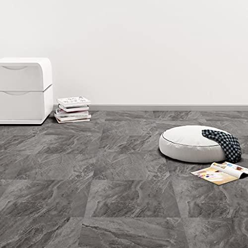Ksodgun PVC Laminat Dielen Selbstklebend Dielenboden Bodenschutz Folie Selbstklebend Boden Planken Fußboden 5,11 m² Schwarzer Marmor
