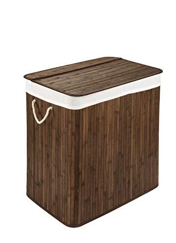 WohnDirect Wäschekorb mit Deckel und Fach • stabile Wäschebox Bambus • Wäschekorb Braun mit Wäschesack, waschbar • 100% Bambus • 72 Liter