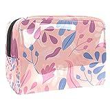 Kit de Maquillaje Pastel Floral Abstracto Neceser Makeup Bolso de Cosméticos Portable Organizador Maletín para Maquillaje Maleta de Makeup Profesional 18.5x7.5x13cm