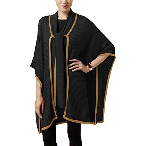 August Silk Womens Tie-Neck Poncho Cardigan (Black/Camel, X-Large)