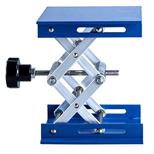 Labor Hebebühne Hubtische Hebeplattform Blau Galvanik Aluminium Lab Ständer Rack Scherenheber Lifter für Chemische Instrument (100mm * 100mm)
