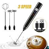 Elektrischer Milchaufschäumer, ALIENGT USB Wiederaufladbar Milchaufschäumer Stab Milk Frother 2 in 1 Milchschäumer Elektrisch Milchschaum Mixer Eier Schlagen für Latte Cappuccino Kaffee schwarz
