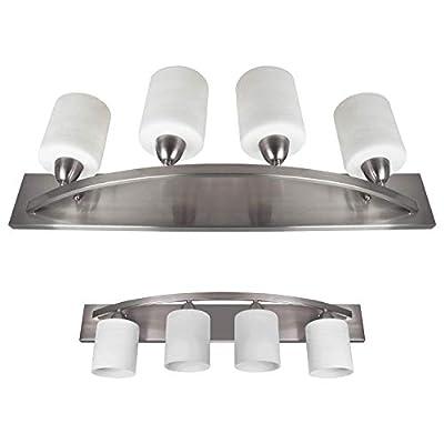 Nuk3y Modern Bathroom Vanity Light Fixture with 4 Light Globe Brushed Nickel (Satin Nickel, 4 Lights)