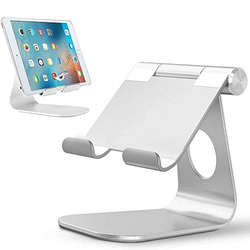VIVICL Tablet Stand Aluminum Adjustable Cell Phone Stand Folding with Stable Base and Convenient Charging Port for Smart Phones, 4-13 inch E-Readers and Tablets