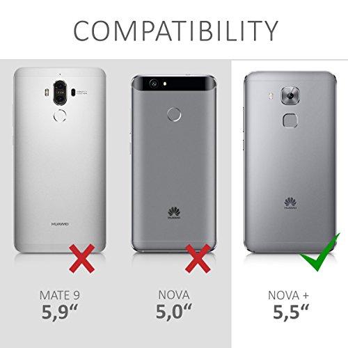 kwmobile Huawei Nova Plus Hülle - Kunstleder Wallet Case für Huawei Nova Plus mit Kartenfächern und Stand - Grau Schwarz - 6