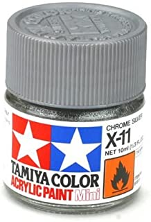 Tamiya 81511 - Pintura Acrílica Mini, Brillo Plateado Frasco de 10ml, X-11