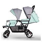 Yyqx Cochecito de bebé gemelo, una llave de retracción, puede sentarse y doblar los segundos cochecitos de bebé diseño de asiento alto y bajo (color: [rueda de espuma de goma] verde loto)