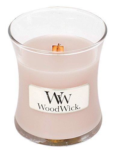 Woodwick LINE Basic Kerze Mini Vanille und Meersalz, Wachs, Rosa, 7 x 7 x 8 cm