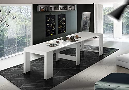 Dmora Tavolo da Pranzo Moderno, Made in Italy, Consolle allungabile 12 posti, con portallunghe, cm 51x90h77 (Fino a 300 cm) Colore Lucido, Bianco ludico