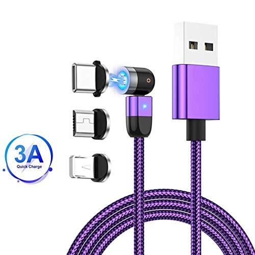 Cavo di ricarica magnetico, rotazione 360°e 180°(3.3ft/1m)Cavo di trasferimento dati USB 3A a ricarica rapida Cavo magnetico 3 in 1, compatibile con Mirco USB, tipo C e dispositivo iProduct Viola