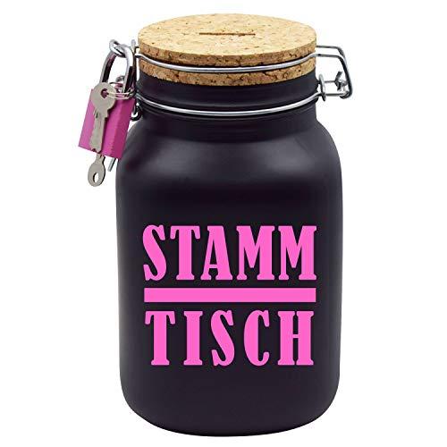 Spardose Stammtisch Sparschwein-Glas Geld-Geschenk-Idee in Pink Schwarzem Glas XL
