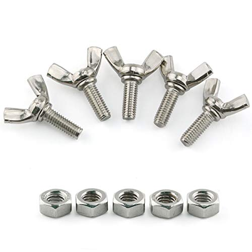 E-outstanding 10pcs M6x16mm 304 Stainless Steel Machine Screws Fastener Thumb Butterfly Screw Wing Bolts with Hex Nut Designed for Tighten Operation by Bare Hands