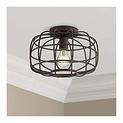 """Epstein Rustic Farmhouse Ceiling Light Flush Mount Fixture Oil Rubbed Bronze 12"""" Wide Open Cage for Bedroom Kitchen Living Room Hallway Bathroom - Franklin Iron Works"""