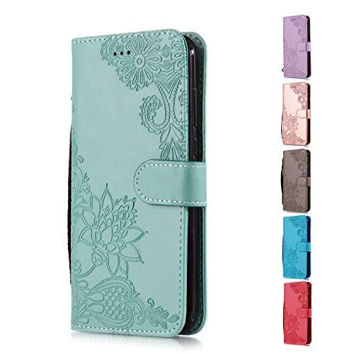 Funda Libro para Apple iPhone 5 5S SE Carcasa de Cuero PU Premium Encaje de Flores de Mandala Flip Wallet Case Cover con Tapa Teléfono Piel Tarjetero - Verde