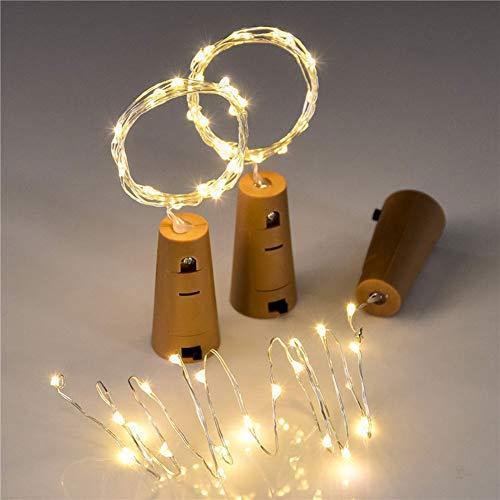 DOMIRE Luces Estado de ánimo, la Botella de Vino Led Cadena de baterías de luz la luz accionada LED para el Dormitorio decoración de la Boda del Partido (luz Blanca cálida)