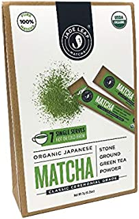 Jade Leaf Matcha Green Tea Powder - Ceremonial Single Serves - USDA Organic, Authentic Japanese Origin - Antioxidants, Energy [7 Count]