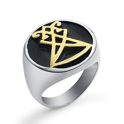 Valily sieraden heren ring Sigil van Lucifer roestvrij stalen afdichting van satan ringen goud zwarte vinger band ring voor mannelijke maat 7-13