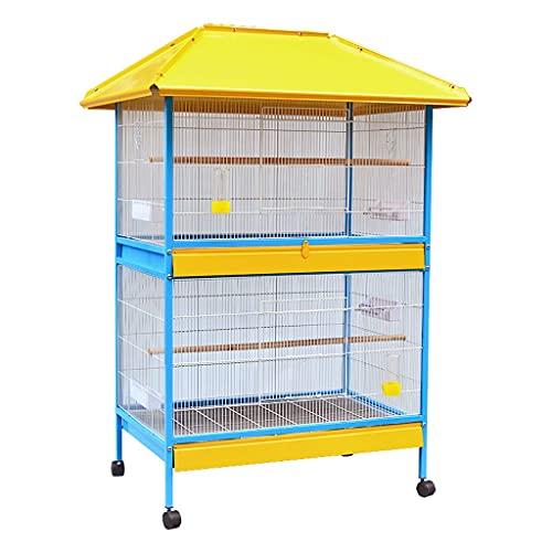 ZANZAN gabbia portatile per uccelli da 62 pollici, grande gabbia per pappagalli per uccelli rotolante, fringuello, ara, gabbia, tetto per voliere, altezza di ogni piano è di circa 61 cm.