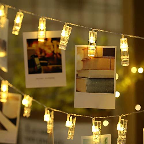 LED Fotoclips Lichterkette für Zimmer Deko, Mobxpar 3M 20LED Fotos Lichterkette Wand mit 20 Klammern Batteriebetriebene Lichterkette Bilder für Wohnzimmer, Weihnachten, Hochzeiten, Party, DIY-Warmweiß