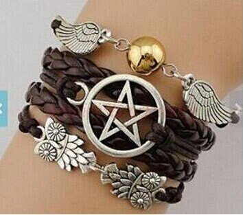 lanyuer Armband Engel Flügel Wing Eulen Pagan, Wicca Dean Winchester Supernatural Star Armband braun