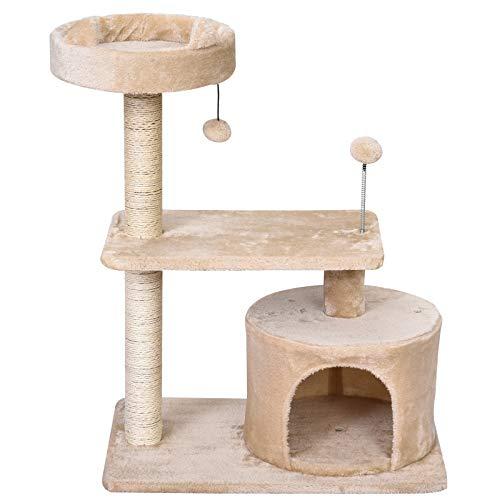 Pawhut Katzenbaum mit Hängebett, 3-Stock Kratzbaum, Katzenhöhle, Katzenhaus mit Spielbällen, mit Sisalsäule und Kratzbrett, Plüsch Beige 61 x 41 x 81 cm