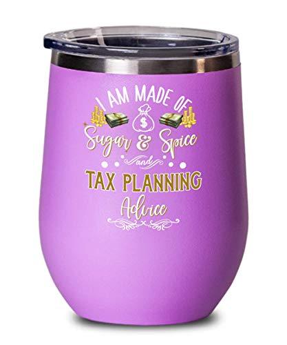 Preparador de impostos, copo de vinho para mulheres, conselho de planejamento tributário, agradecimento, ideia de agradecimento para contador de impostos, colega de trabalho, 340 g, quente C