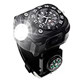 Rechargeable Led Torch Wrist Light, Waterproof Watch Flashlight with Compass Tactical Flashlights for Outdoor Running, Hiking, Camping, Biking, Mountain Climbing