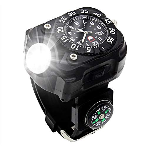 Rechargeable 350 Lumens Led Torch Wrist Light, WaterproofWatch Flashlightwith Compass Tactical Flashlights for Outdoor Running, Hiking, Camping, Biking, Mountain Climbing for Birthday Gift