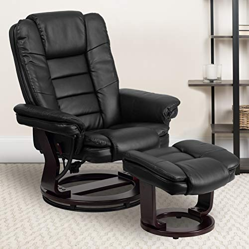 Big Sale Flash Furniture BT-7818-BK-GG Contemporary Black Leather Recliner/Ottoman with Swiveling Mahogany Wood Base