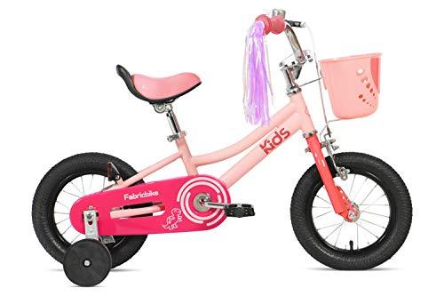 FabricBike Kids - Bicicletta per Bambini con Pedali per Bambini e Ragazze, Ruote Rimovibili da 12' e 16', 4 Colori (Sweet Pink, 12': 2-3,5 Anni (da 70 a 96 cm di Altezza))