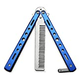 Butterfly Knife Trainning Practice Comb Unsharpened Blade (Blue-Comb)