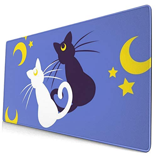 Sailor Moon Moon Kitties Extended Gaming Mouse Pad with Stitched Edges Large Mousepad with Premium Textured Cloth Non-Slip Rubber Base Keyboard Pad Desk Mat for Gamer Office Home