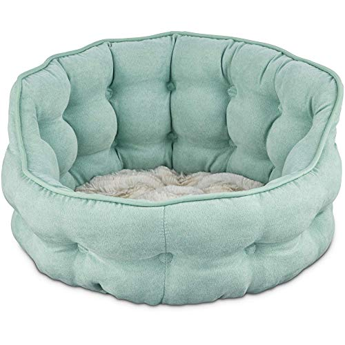 Harmony Tufted Cat Bed in Seaglass