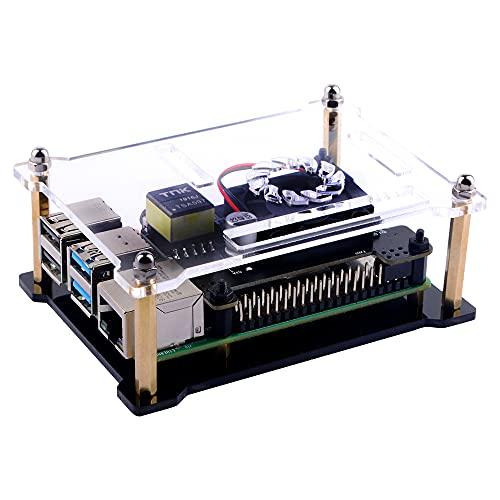 GeeekPi Raspberry Pi Poe Hut Gehäuse, Raspberry Pi Acryl Gehäuse für Raspberry Pi 4B / 3B + / 3B / 2B / B + (Raspberry Pi und POE HAT Nicht INKLUSIVE)