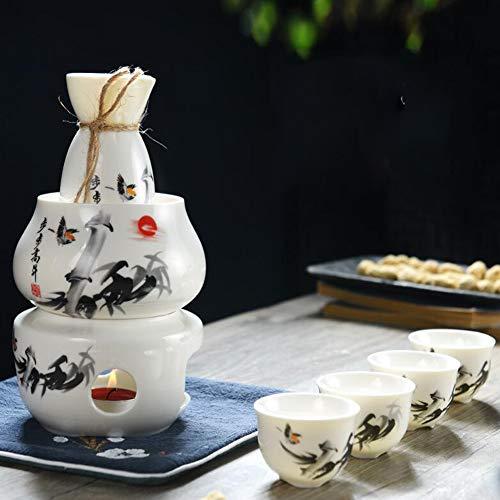 GZYM Sake Set und Tassen mit Warmer, Traditionelle Porzellan Keramik Hot Saki Getränk Set Kit, 7-teilig umfassen 1 Herd 1 Schüssel 1 Sake Warming Flasche 4 Cup,White 1