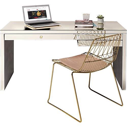 Kare Design Schreibtisch Luxury Champagne 140 x 60 cm, für das Büro als Blickfang, Spiegeloptik, mit Schubladen, weitere Ausführungen der Serie erhältlich  (H/B/T) 77,5 x 140 x 60,5 cm, Champagner
